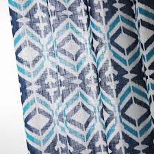 Geometric Pattern Window Curtains by Printed Blue Geometric Curtains For Living Room Europe Style Linen