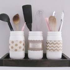 Kitchen Mason Jars Shabby Chic Decor Distressed Painted Set Of 3