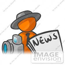 Clip Art Graphic Of An Orange Guy Character News Reporter With A Newspaper Clipart