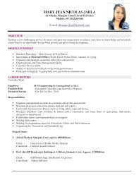 Resume Example With Ojt And Creative Sample Format Of For Examples An Objective