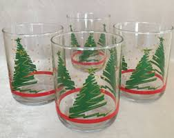 Spode Christmas Tree Glasses by Holiday Glassware Etsy