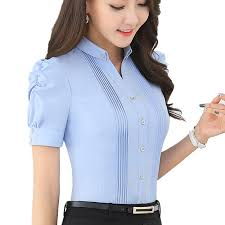Ruffle Blouse 2016 Lady Office Tops Short Sleeve Shirt V Neck Sexy Women Blouses Fashion