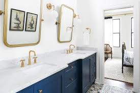 blue dual sink vanity with carrera marble countertop