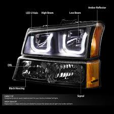 06 chevy silverado avalanche led u halo headlight bumper light