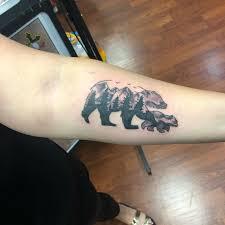 Mama Bear Tattoo For Her Two Year Old Son Mamabeartattoo Beartattoo Forearmtattoo Momswithtattoos Blackandgreytattoos Tattoosbyandre2018
