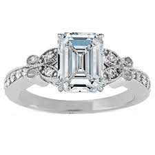Engagement Ring Emerald Cut Diamond Butterfly Vintage 016 Tcw In 14K White Gold ES334ECWG