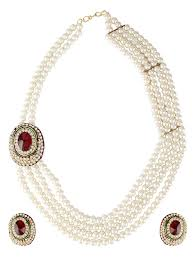 100 Pearl Design Shining Diva Latest Traditional Necklace Jewellery Set For Women White Rr5443s