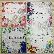 2016 Hottest 48 Pages Adult Coloring Books Enchanted Forest Fairy Tales Mystery Garden Beauty And The Beast Secret