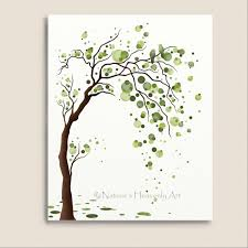 Green Tree Watercolor Art 8 X 10 Print Love Birds