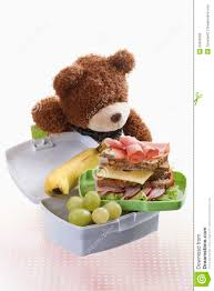 Open Lunchbox With Food And Teddy Bear Close Up Stock Image