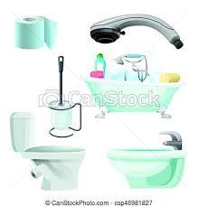 bidet badezimmer satz illustration realistisch bad