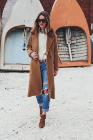 Camel Coat And Matching Carolinna Espinosa Ankle Boots Boyfriend Jeans Cable Knit Sweater