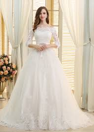romantic tulle off the shoulder neckline ball gown wedding dresses