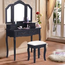 Costway White Vanity Jewelry Wooden Makeup Dressing Table Set