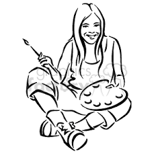 Black And White Young Girl Laughing Holding A Paint Brush Pallet