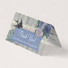 Vintage Swallow Bird Cobalt Blue Shabby Thank You Card