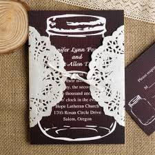 Mason Jar Wedding Invite Dark Brown Jars Ivory Lace Pocket Invitations With