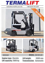 100 Nissan Lift Trucks NISSAN Forklift For Sale Model NK1B1L10 Engine Type Electric