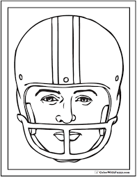 Printable Football Helmet Coloring Page With Players Face Portrait