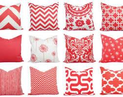 Red Decorative Lumbar Pillows by Coral Pillows Pillow Cover Decorative Pillow By Elemenopillows