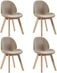 setsail 4 x esszimmerstühle skandinavisch küchenstühle polsterst stuhl schöne form bequeme stühle stoff leinen holz beige grau