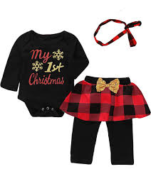 Amazoncom Mutiggee My First Christmas Outfit Baby Girls Xmas Plaid