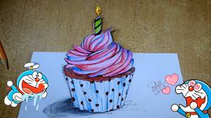 Cupcake Painting on Color Pencil Happy birthday cake drawing