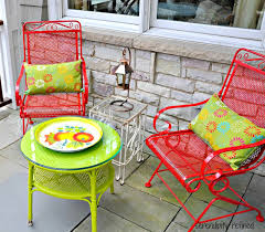 Brightly Colored, Spray Painted Outdoor Patio Furniture By ... Crosley Griffith Outdoor Metal Five Piece Set 40 Patio Ding How To Paint Fniture Best Pick Reports Details About Bench Chair Garden Deck Backyard Park Porch Seat Corentin Vtg White Mid Century Wrought Iron Ice Cream Table Two French White Metal Patio Chairs W 4 Chairs 306 Mainstays Jefferson Rocking With Red Choosing Tips For At Lowescom