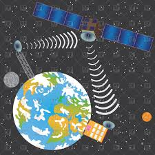 100 House Earth Satellite Transmit Signal From Earth To House Vector Image Of