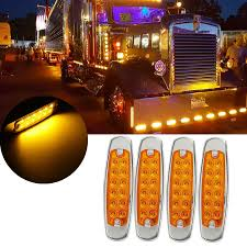 100 Used Freightliner Trucks Details About 4PC Amber 12 LED Sealed Side Marker Clearance Light Fish Shape
