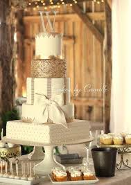 Ivory And Gold Wedding Cake With Bow Round Square Tiers Vintage Barn