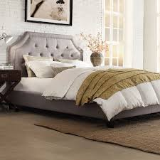 King Platform Bed With Fabric Headboard by Bedroom Grey Upholstered Bed King Grey Tufted Headboard Platform