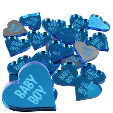 Baby Boy Blue Love Heart Favours Baby Shower Table Decorations Mini Confetti Pack Of 50
