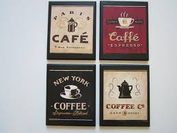Coffee Shop Plaques 4pc Country Red Black Beige Kitchen Wall