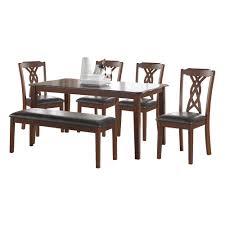 Ingeberg 6 Piece Black Leatherette And Espresso Dining Set