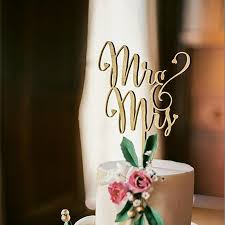 Wedding Cake Topper Beautiful Wooden Cursive Rustic Theme Mr Mrs