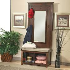 Image Of Entry Bench With Coat Rack And Mirror