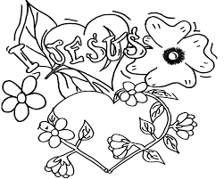 Coloring Pages Printable Love Jesus Pictures Heart Shaped Flowers Leaves White Black Lines Clover