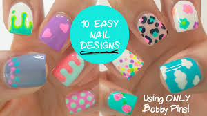 10 EASY nail designs using ONLY bobby pins