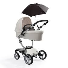 Mima Moon High Chair by White Mima Xari In Carrycot Mode With Black Softgoods And Parasol