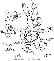 Coloring Page Outline Of Cartoon Easter Bunny With Eggs Basket And Birds Vector Illustration