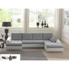cloe canapé d angle panoramique convertible 8 places tissu gris