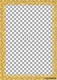 Golden Glitter Frame A4 Format Size Isolated On Transparent Background Glittering Sparkle Vector