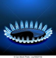 Flames Of Gas Stove In The Dark Vector