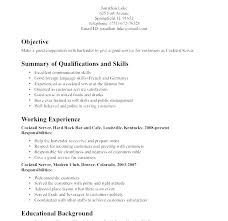 Example Of A Waitress Resume For Examples Waiter Skills Resumes