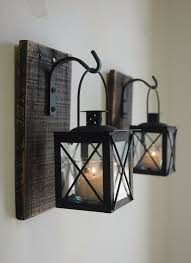 Black Lantern Pair 2 With Wrought Iron Hooks On Recycled Wood Board For Unique Wall Decor Home Bedroom