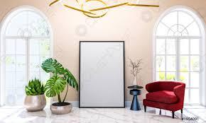 foto auf lager moderne klassische luxus wohnzimmer innenraum hintergrund mit attrappe posterrahmen 3d rendering