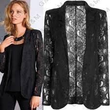 2017 plus size autumn spring jacket women coat black lace blazer