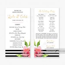Black White Wedding Program Or Menu Card