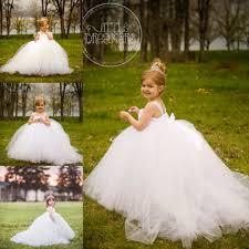 miniature bride white flower girl dresses detachable train